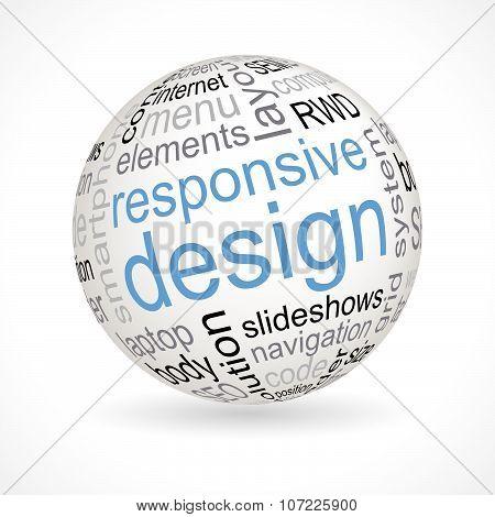 Responsive design theme sphere with keywords full vector poster