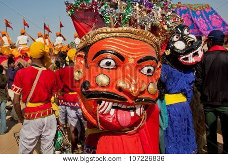 Horror Demons Faces Of Hinduism On Carnival Crowd Of The Popular Desert Festival In Rajasthan.