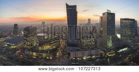 Panorama Of Warsaw During Autumn Sundown