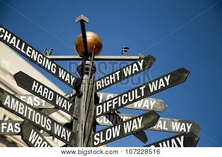 Directional Sign Post With Mixed Message, Correct, Difficult, Slow, Challenging, Hard, Ambitious