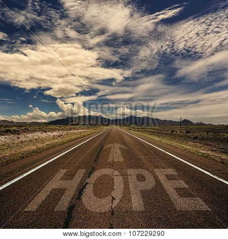 Conceptual Image Of Road With The Word Hope