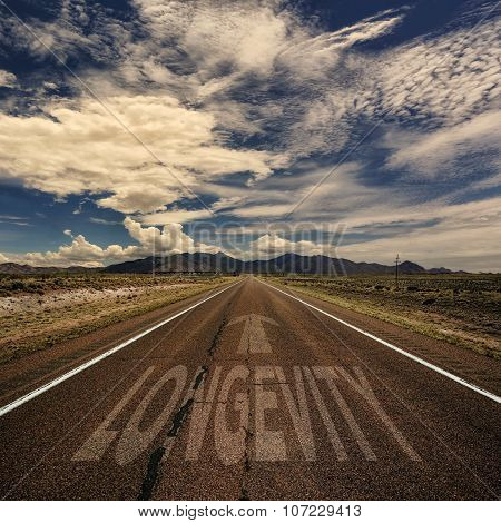 Conceptual Image Of Road With The Word Longevity