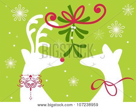 Reindeer with holly and berries - christmas kiss mistletoe