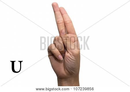 Finger Spelling the Alphabet in American Sign Language (ASL). The Letter U