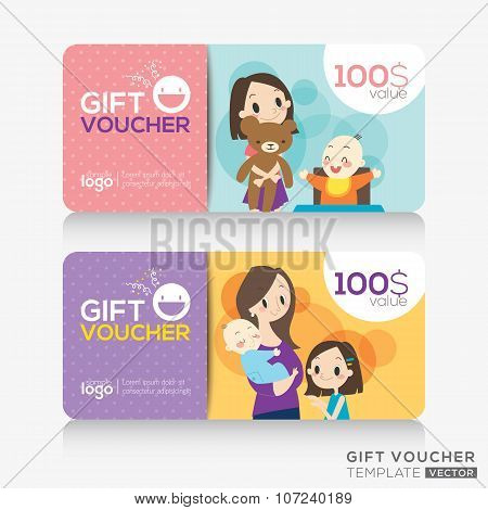 kids store Coupon Voucher Or Gift Card Design Template