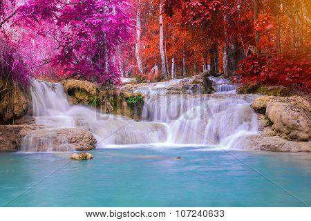 Waterfall In Rain Forest (tat Kuang Si Waterfalls At Luang Prabang, Laos.)