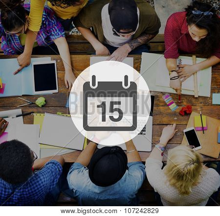 Fifteenth Appointment Memo Schedule Calendar Plan Concept poster