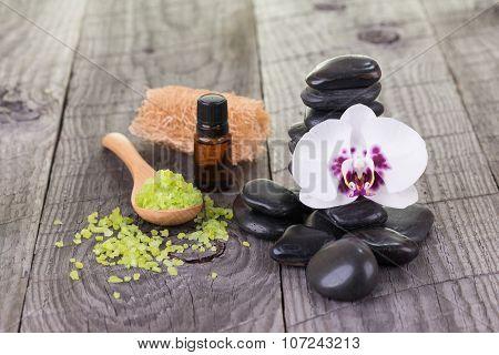 Spa With Essential Oil, Loofah And Bath Salt