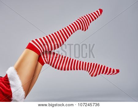 Beautiful sexy woman in Santa Claus clothes