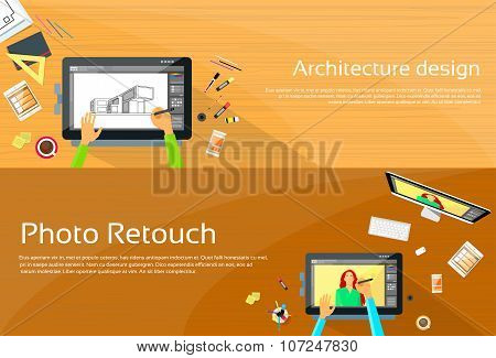 Architecture Designer Workplace Desk Big Digital Tablet