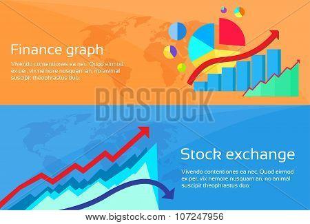 Finance Graph Stock Exchange Chart Web Banner Set