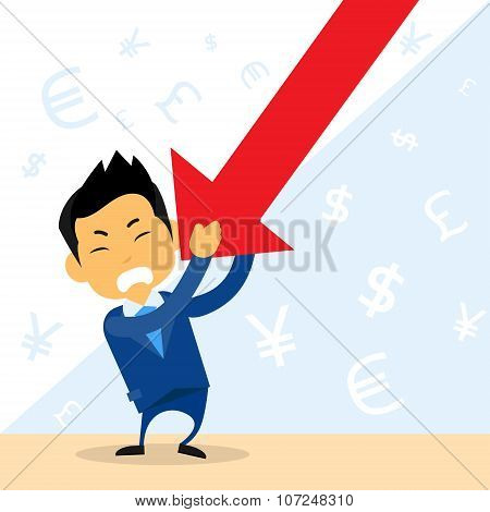 Businessman Hold Financial Graph Red Arrow Negative Fall Down