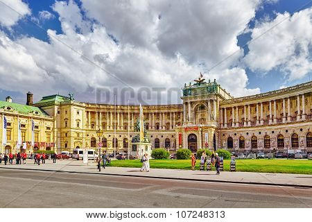 Vienna, Austria- September 10, 2015: Hofburg Palace .austrian National Library Is The Largest Librar