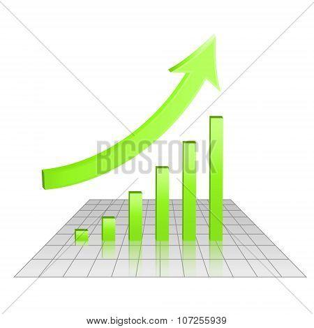 Business 3D Chart Of Growth, Goal Achievement