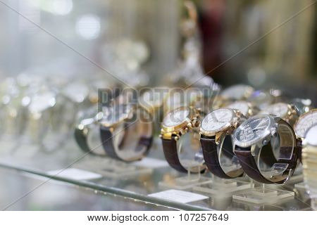 New Stylish Modern Wristwatch In Glass Showcase In Shopping Center