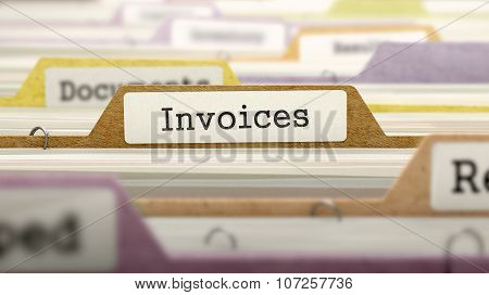 Invoices Concept. Folders in Catalog.