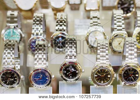 Perm, Russia - Aug 18, 2014: Russian Stylish Wristwatches In Showcase. Watch Factory Vostok Produces