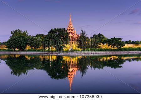 Mandalay, Myanmar at the palace wall and moat