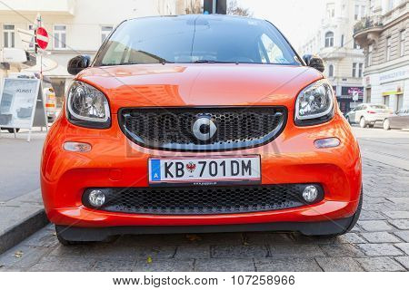 Bright Red Smart Fortwo W453 Car Front View