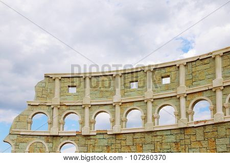 Perm, Russia - June 18, 2014: Part Of Improvised Colosseum For Performing At Open Air Festival White