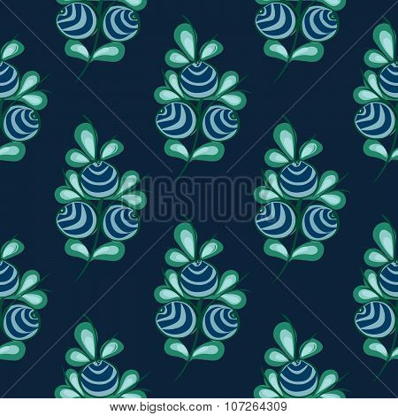 Blue berries seamless pattern stock vector natural background