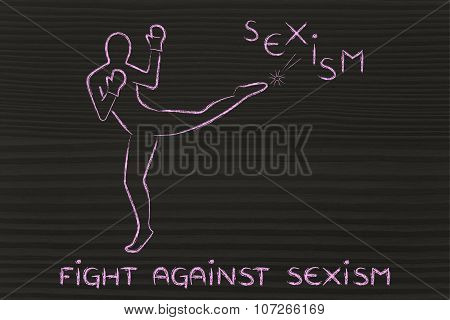 Person Kicking And Boxing Against Sexism