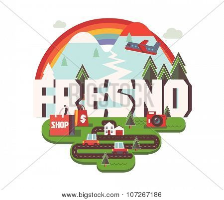 Fresno city logo in colorful vector