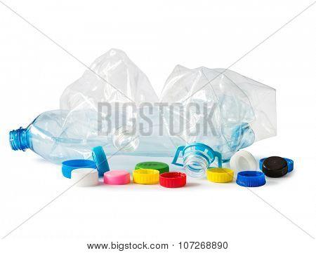 used plastik bottles isolated on white background