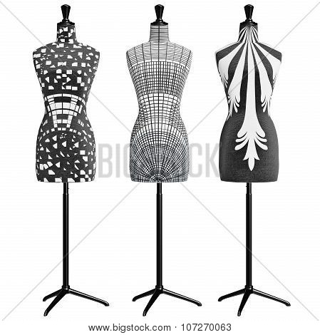 Women's classic mannequins on a metal tripod, front view. 3D graphic object on white background isolated poster