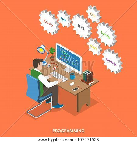 Programming flat isometric vector concept.