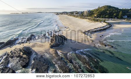 Aerial view of Currumbin Rock and Beach