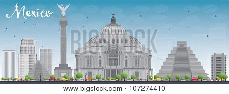 Mexico skyline with grey landmarks and blue sky. Vector illustration. Business travel and tourism concept with historic buildings. Image for presentation, banner, placard and web site.