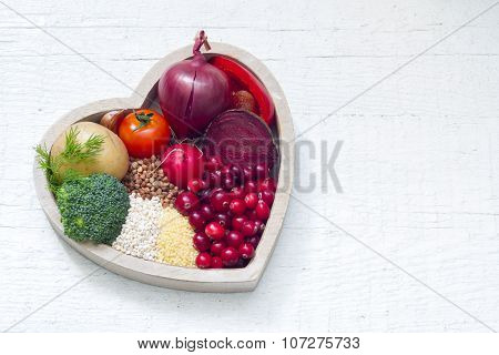 Healthy food in heart sign of healthy lifestyle