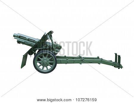 Artillery gun isolated over white