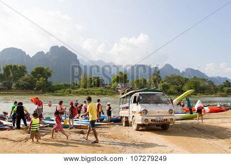 Traveler prepare travel by boat