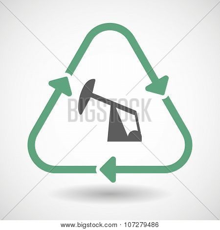 Line Art Recycle Sign Vector Icon With A Horsehead Pump