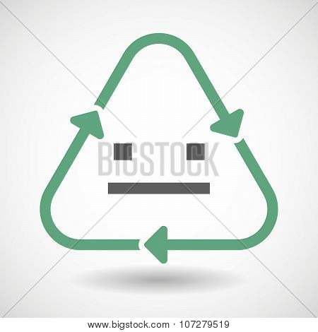 Line Art Recycle Sign Vector Icon With A Emotionless Text Face