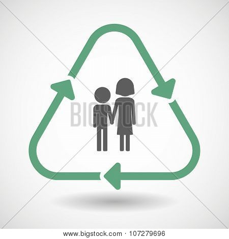 Vector illustration of a line art recycle sign icon with a childhood pictogram poster