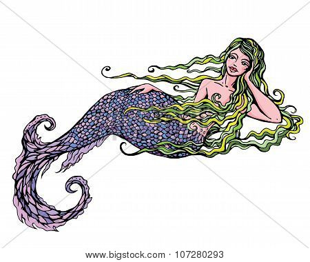 Hand Drawn Illustration Of A Beautiful Mermaid Girl Isolated On White Background.