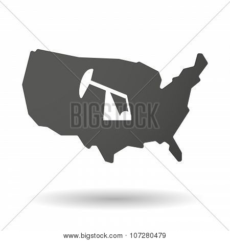 Isolated Usa Vector Map Icon With A Horsehead Pump