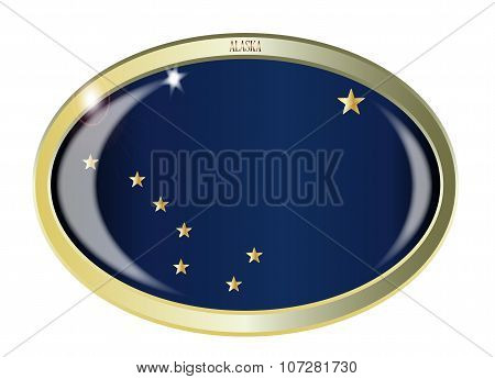 Oval metal button with the Alaska flag isolated on a white background poster