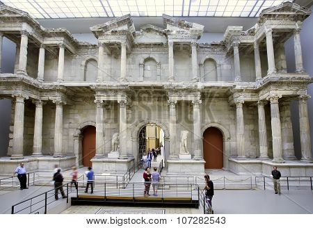 Tourists Walking Around  Market Gate Of Miletus , Constructed In 2Nd Century Ad