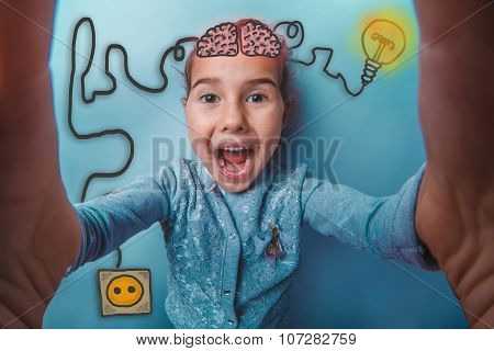 girl making self laughs opened her mouth happy igniter charge charging cord plug wires and sketch infographics poster