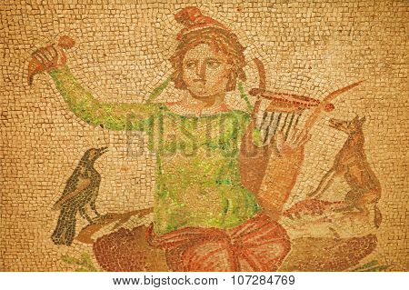 Orpheus Play Music For Crow And A Dog On Background Floor Of House Of Miletus