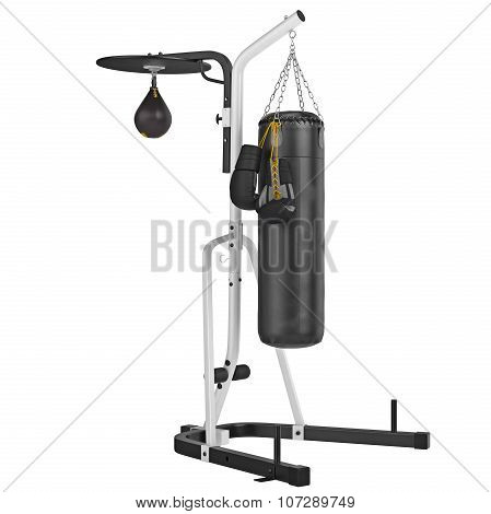 Set punching bag with gloves. 3D graphic object on white background isolated poster