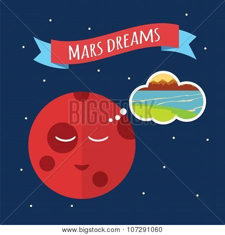 The planet Mars is dreaming of water. Water on Mars. Vector illustration in flat style poster