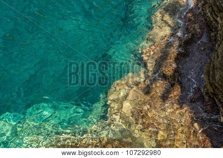 Rocky seabed under water