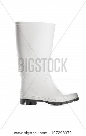 White Rubber Boot Studio Isolated