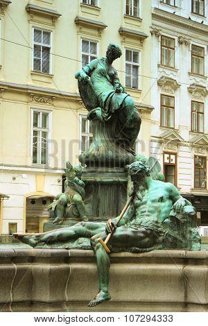 The Donner Fountain (donnerbrunnen) In Neuer Markt In Vienna, Austria