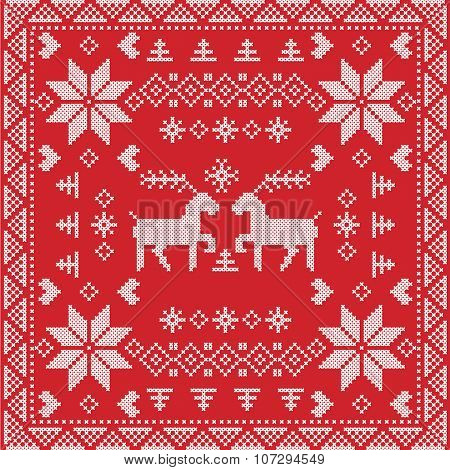 Scandinavian style Nordic winter stich, knitting seamless pattern in the square, tile  shape includi